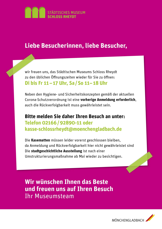 Museum Schloss Rheydt öffnet wieder!